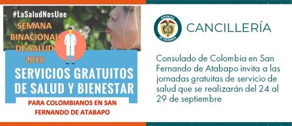 El Consulado de Colombia en San Fernando de Atabapo invita a las jornadas gratuitas de servicio de salud que se realizarán del 24 al 29 de septiembre de 2018