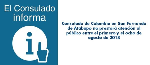 El Consulado en San Fernando de Atabapo no prestará atención al público entre el primero y el ocho de agosto de 2018